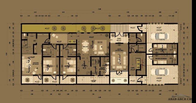 مخطط فيلا دورين معزولات وشقة في الملحق أبعاد الأرض 13,5 * 35