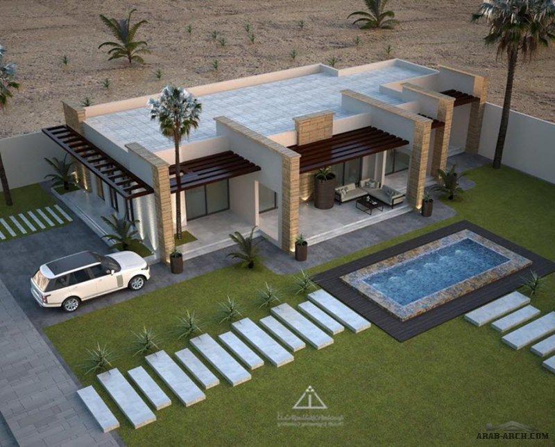 مُخطط شاليه مودرن نموذجي دور أرضي مسطح بناء ٢٢١ م مربع مع وجود المخطط الانشاي و المعماري من اعمال ثلث مهندسن معماريون