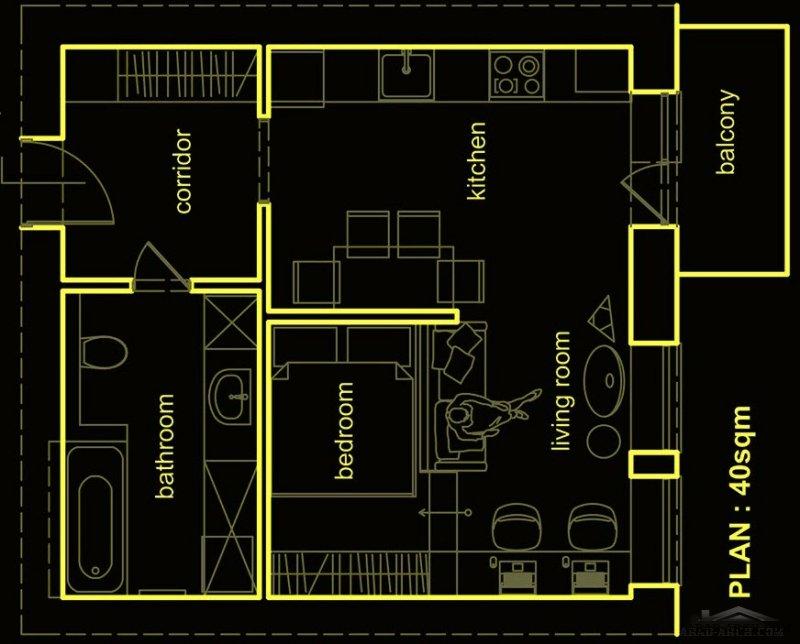مخطط مساحي لاستوديو 40 متر مربع