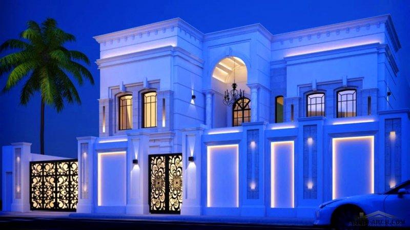 واجهه كلاسيكية بسيطه و مميزه جدا اصالة الشرق من اعمال معماري محمد السقاف