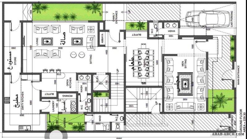 مخطط فيلا دورين وشقة في الملحق العلوي مساحة الارض 14x25