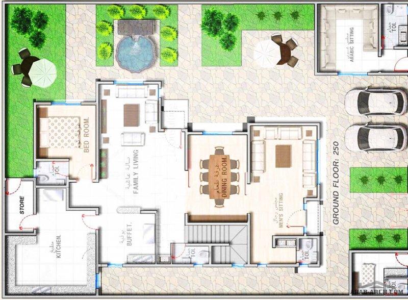 شركة ثُلث مهندسون معماريون  مٌخطط نَموذجي لفِيلا بمسَاحة أرض ٤٠٠ م٢