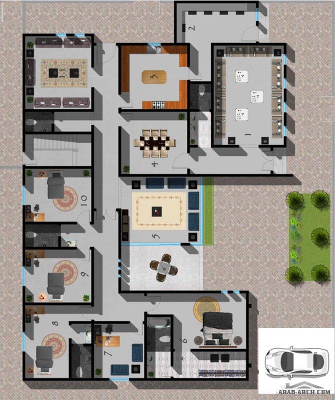 مخطط فيلا مودرن | Modern villa plan مكتب الحسن للاستشارات الهندسية