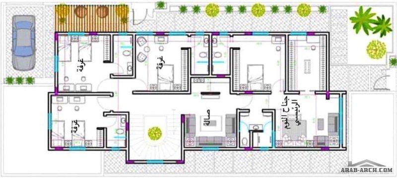 مخطط فيلا دورين وملحق علوي مساحة الارض 13x30  تصميم م/ حسان الحديثي