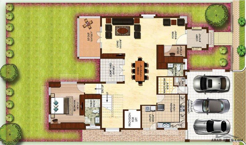 تصميم فيلا مودرن 4 غرف تصميم اوربي نوم المباني 400 متر مربع