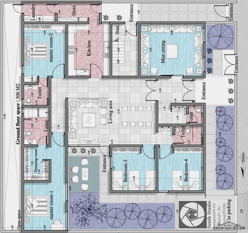 تصميم فلل سكنية خاصة دور أرضي متكامل بالأبعاد  من أعمال South Studio