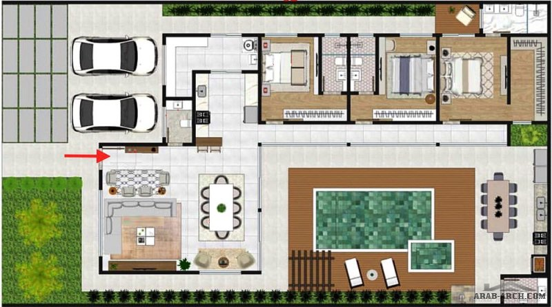 مخطط شالية دور واحد  مساحة الارض 14x25 مسطح البناء 220م٢