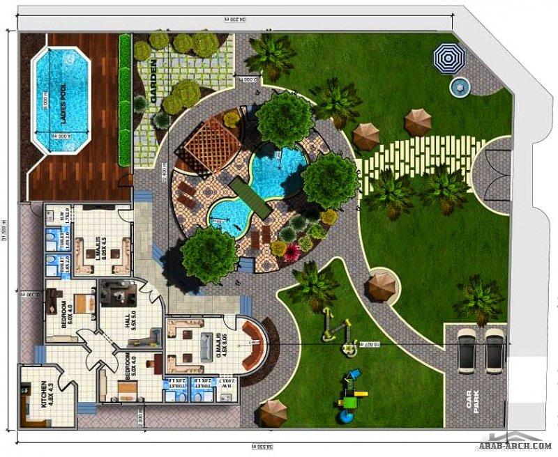 من اعمال الاحتراف الهندسي العالمي تصميم مبدئي لاستراحة على أرض مساحتها 1200 م ⚡ أحواض سباحة للرجال والنساء  ⚡مجلسين وغرفتين وصالة ومطبخ بمساحة 200 م