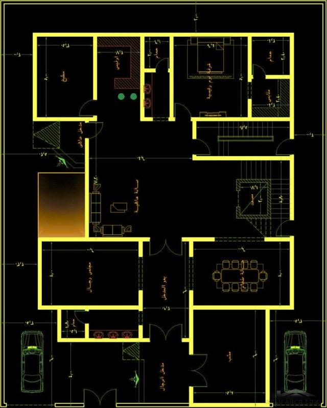 خريطة فيلا و شقة مسروقة ايعاد الارض 25*20 متر مت اعمال مكتب الراجحي الهندسي