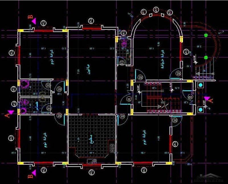مخطط منزل طابقين 185 متر شقتين منفصلين من اعمال Osama Z Sh Abudaqqa