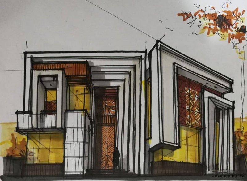 التخطيط اليدوي لدي يتقدم التصميم دائما ... مجموعة اسكيجات المجموعه الاولي من ابداعات د. Luai Jubori