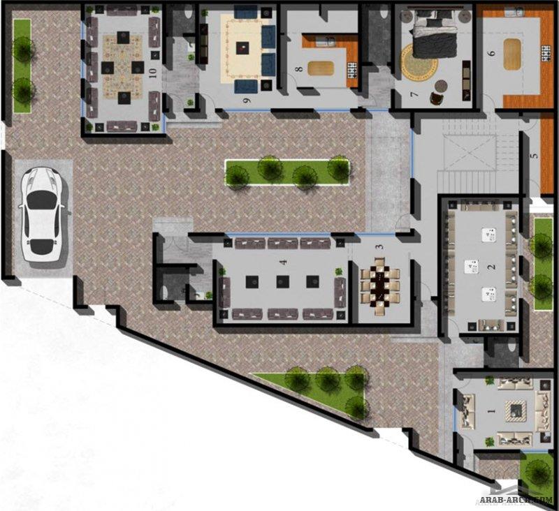 تصميم فيلا خاص يخدم حاجة المالك على ارض مائلة من أعمالنا | الحسن للاستشارات الهندسية مخطط فيلا مودرن | Modern villa plan