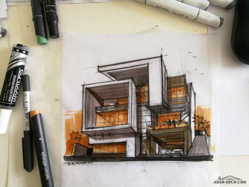 التخطيط اليدوي لدي يتقدم التصميم دائما ... مجموعة اسكيجات المجموعه االثانية من ابداعات د. Luai Jubori