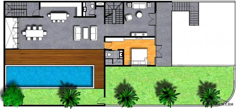مخطط شاليه مودرن بدروم و ارضي و اول مساحة الارض 390 متر مربع مع مسبح كبير