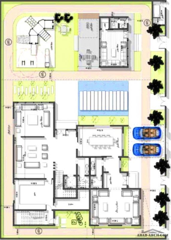 مخطط فيلا دورين وملحق علوي مساحة الارض المناسبة 34 في عمق 24 تصميم شركة فاس