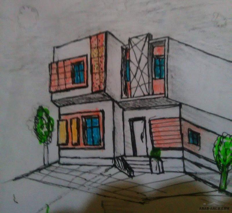 معماري أنور أمين البريهي اسكتش free hand فيلا مودرن .