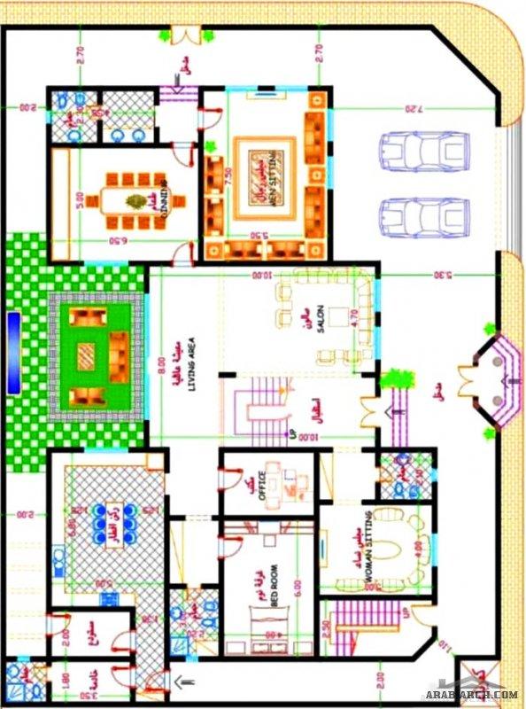 المخطط فيلا دورين وشقة مسروقة مساحة الارض 22x30 مسطح البناء 360م٢