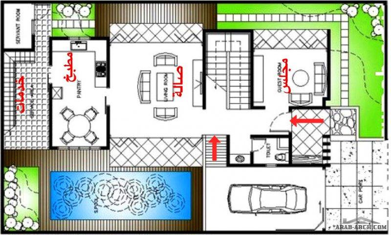 مخطط فيلا دورين بسيط و مناسب لارض 15x22