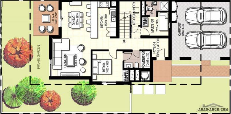 خرائط فلل متصلة صغيرة المساحة 4 غرف نوم مودرن 235 متر مربع