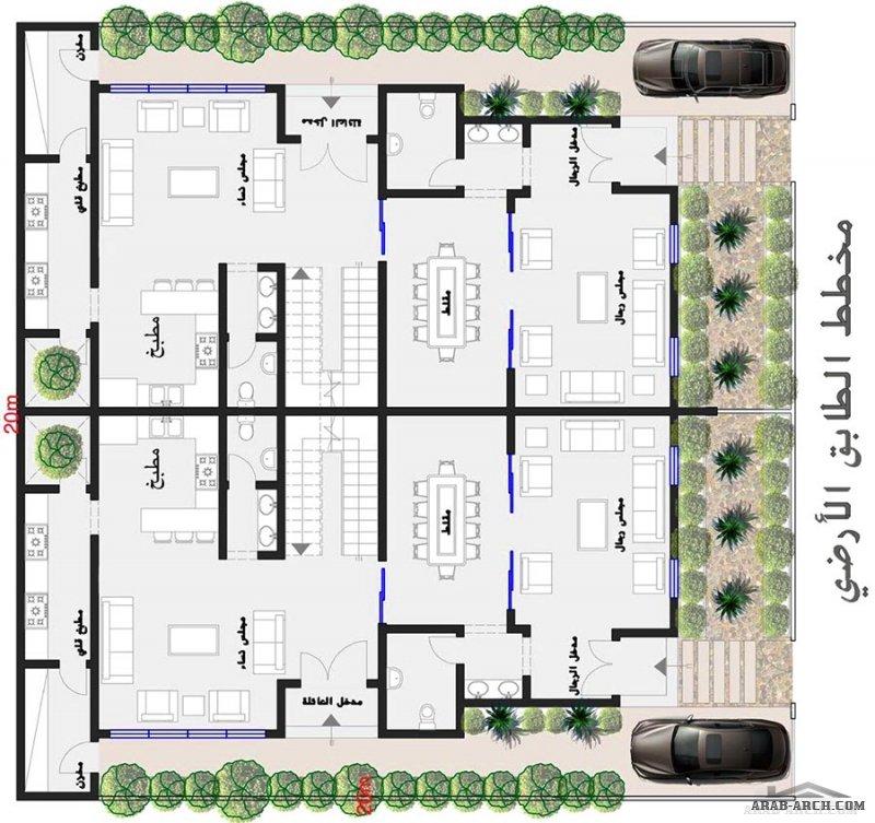 مخطط فلل دوبلكس دورين وملحق علوي اطوال الوحدة 20*20 متر تصميم Lyla Ouda