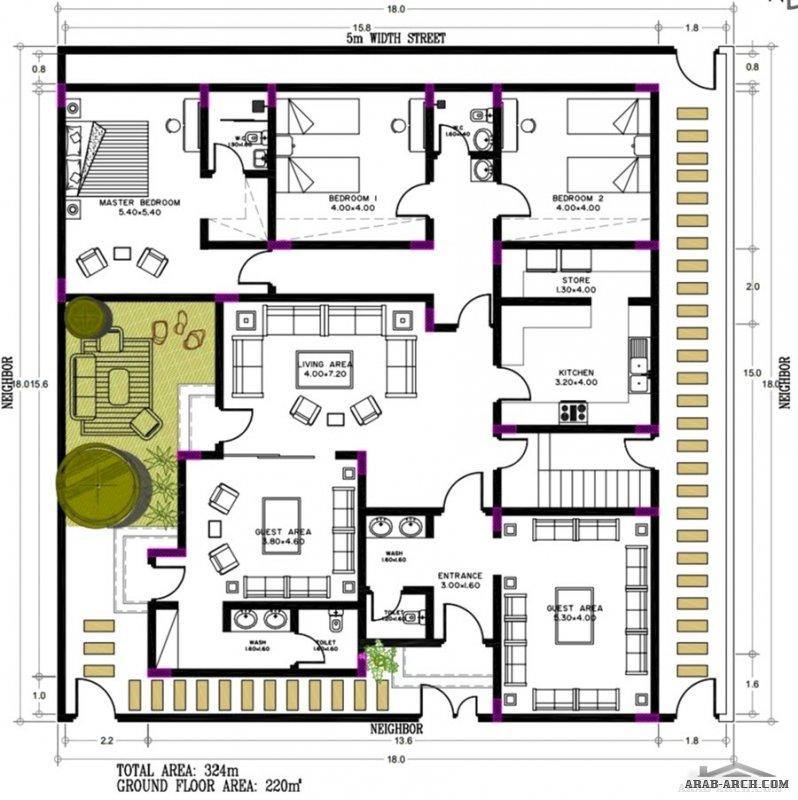 مخطط من اعمال شركة عمار المتقدمة للمقاولات الارض 18*18 متر