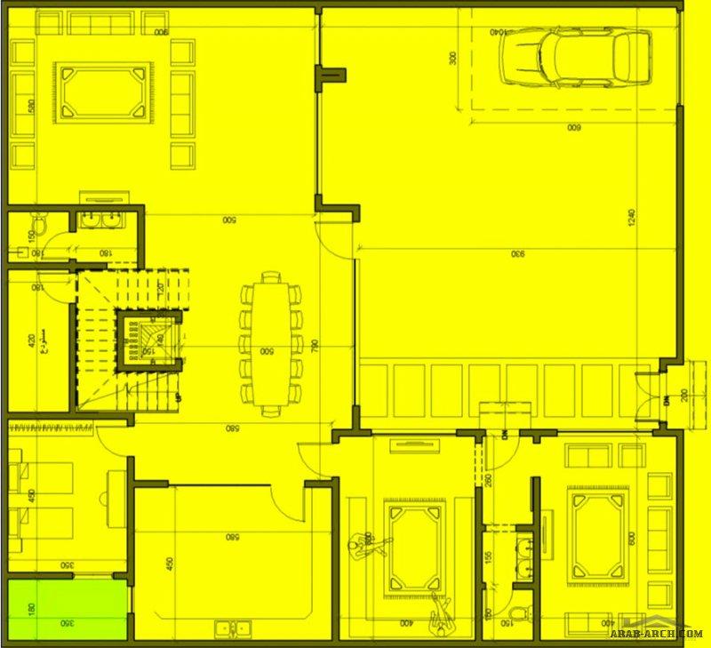 المخطط فيلا  مساحة الارض ٣٨٠ م2 - 19*20 متر