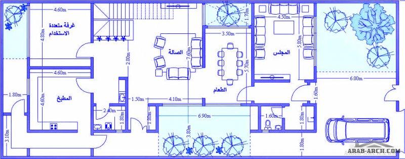مخطط فيلا مخطط دوبلكس دورين  مساحة الارض 12x30-  360 م2