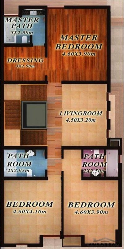 مخطط فيلا دبلكس صغير المساحة فلل ليليا - مساحة الارض 300 متر مربع
