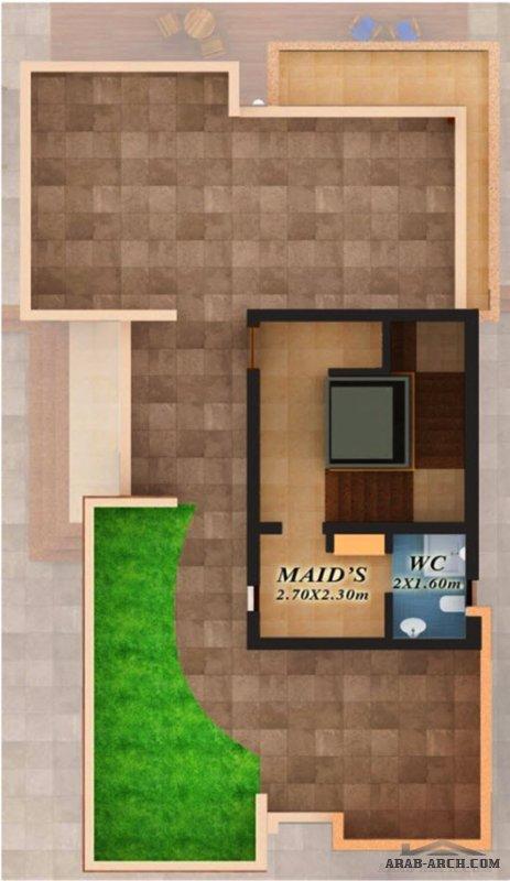 خطة فيلا مودرن صغيرة المساحة طابقين و روف مساحة البناء 370 م2