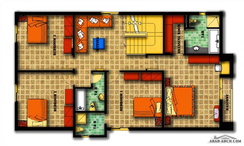 مخطط فيلا تالا اربع غرف نوم صغيرة المساحة تصميم مريح  مميز نمط حديث