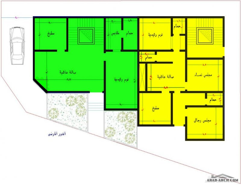مخطط فيلا وشقتين  لارض مساحتها ٥٣٣ متر  ارض مشطوفة من مشاركات الاخ أحمد العسيري
