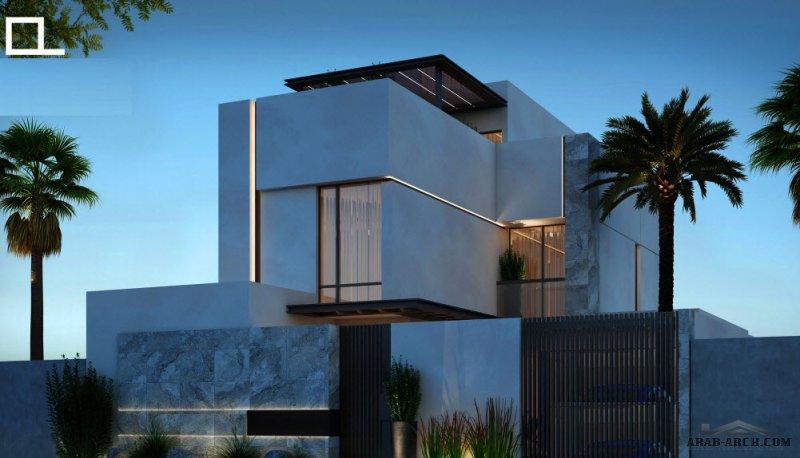 فيلا سكني التصميم النموذجي B + مصعد، لمكتب المعمار البسيط للمهندس عبدالرحمن الزعاقير مساحة الأرض 300 متر مربع
