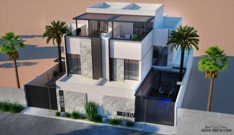 فيلا سكني التصميم النموذجي C  توين+مصعد، لمكتب المعمار البسيط للمهندس عبدالرحمن الزعاقي مساحة الأرض 500 متر مربع