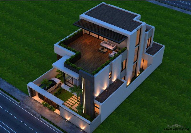 فيلا سكني التصميم النموذجي الثاني مودرن لمكتب مجموعة الخليل مساحة الأرض 375 متر مربع