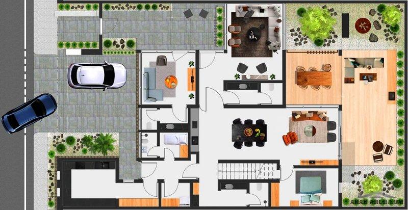 فيلا سكني فرواع فيلا المصمم المهندس بندر المنصور مساحة الأرض 375 متر مربع