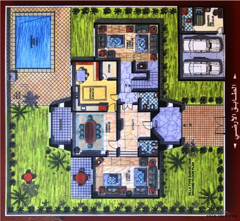 مخطط فيلا صغيرة المساحة مدخل رئيسي واحد فقط ابعاد المبني ١٠م*٢٠م مساحة كل دور  ٢٠٠م٢ eng.Hamad Sultan