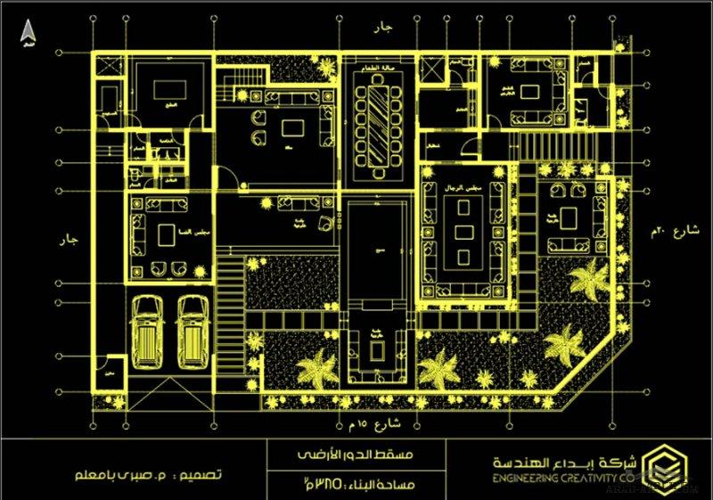 مخطط فيلا كامل مع التفاصيل من اعمال Arch_sabri  مساحة الدور 385 م2