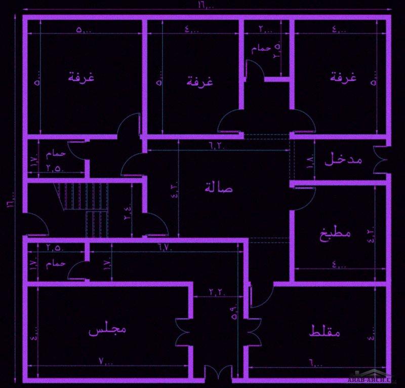 تصميم مبنى دور وشقتين  ابعاد البناء 16*16 متر