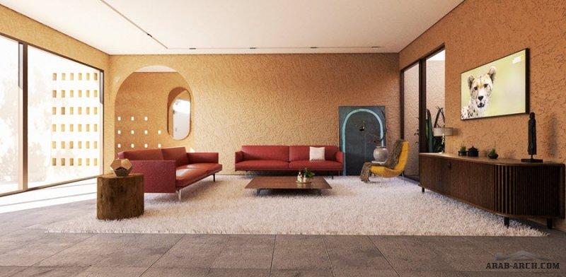 فيلا سكني تصميم محلي معاصر من دور واحد قابل للتوسع المستقبلي دار ايوان A  مساحة الأرض 500 متر مربع