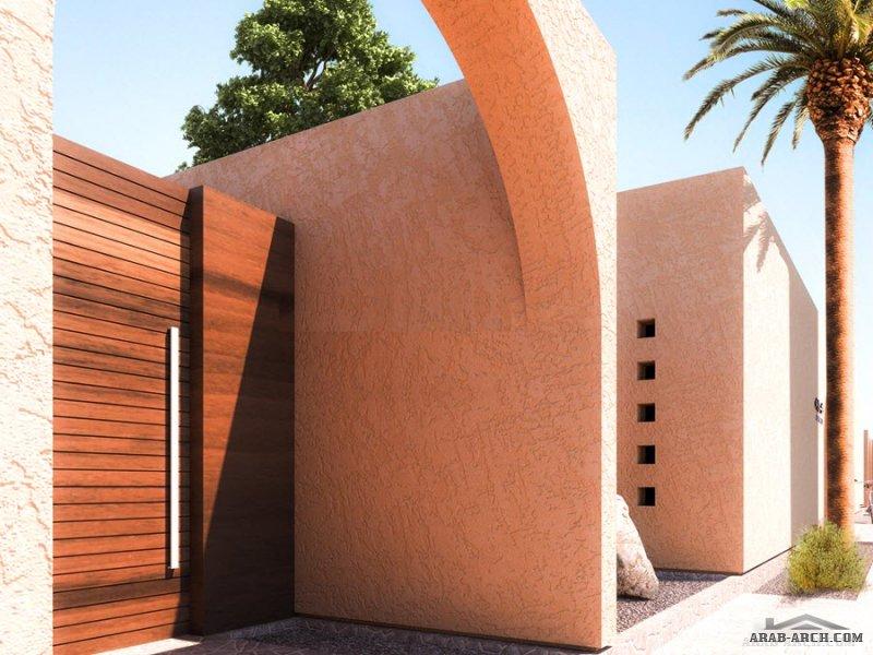 فيلا سكني دار إيوان B تصميم محلي معاصر من دور واحد قابل للتوسع المستقبلي مساحه الارض 500 م2