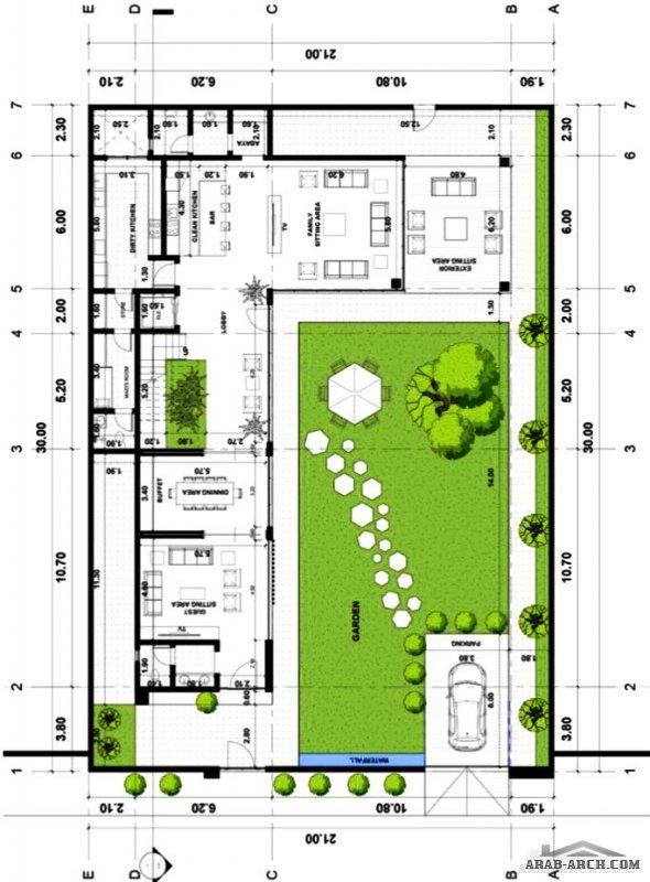مخطط فيلا طابقين 30*21 متر من اعمال مكتب IQ تصميم وادارة مشاريع