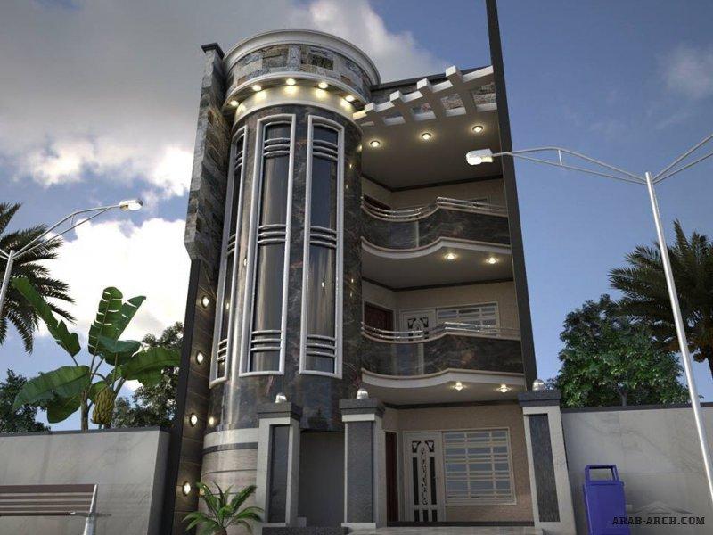 دار عراقي طابقين و رووف الارض عرض 7 نزوال 16  من اعمال المصمم المعماري