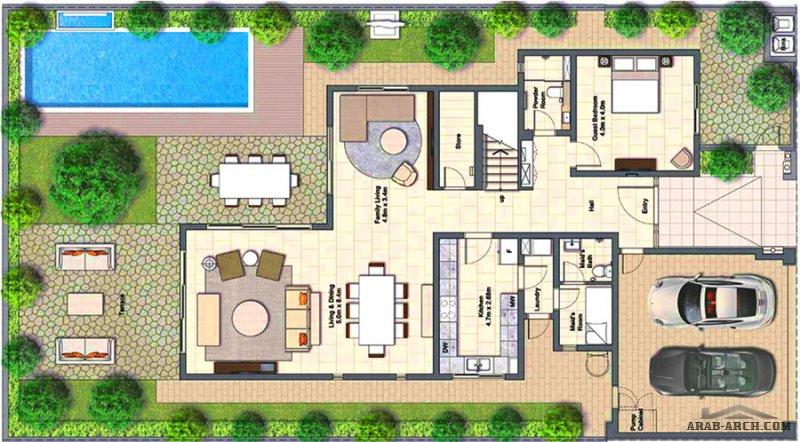 مخطط فيلا الزاهية مودرن 4 غرف نوم مساحه الطابق الارضي 143 متر مربع