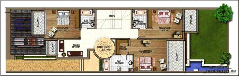 مخطط مودرن صغير المساحة 4 غرف نوم وحديقة خلفية