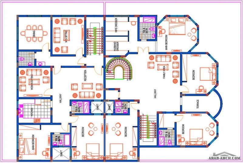 فيلا رقم 1 - مخطط لفيلا في الواجهه و 3 شقق بالخلف - مسطح البناء 418 متر مربع متوفر الاتوكاد و مخطط الاعمدة