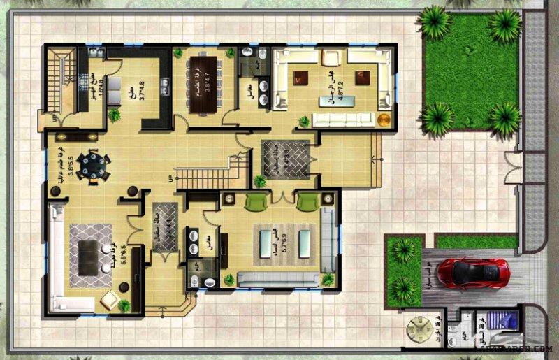 فيلا ليلي 2 نموذج  مخطط مثالي بحي روابي الدمام - 5 غرف نم بحمام خاص