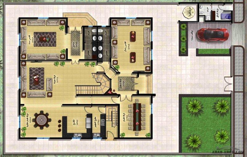 فيلا ليلي 3 نموذج  لمخطط مثالي سعودي - 5 غرف نوم بحمام خاص