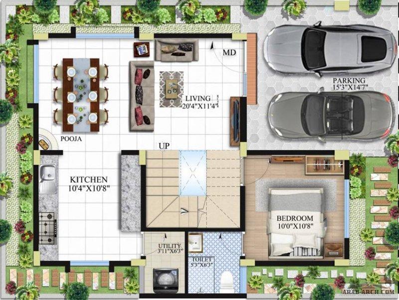مخطط فيلا أوربي مودرن حديثه التصميم