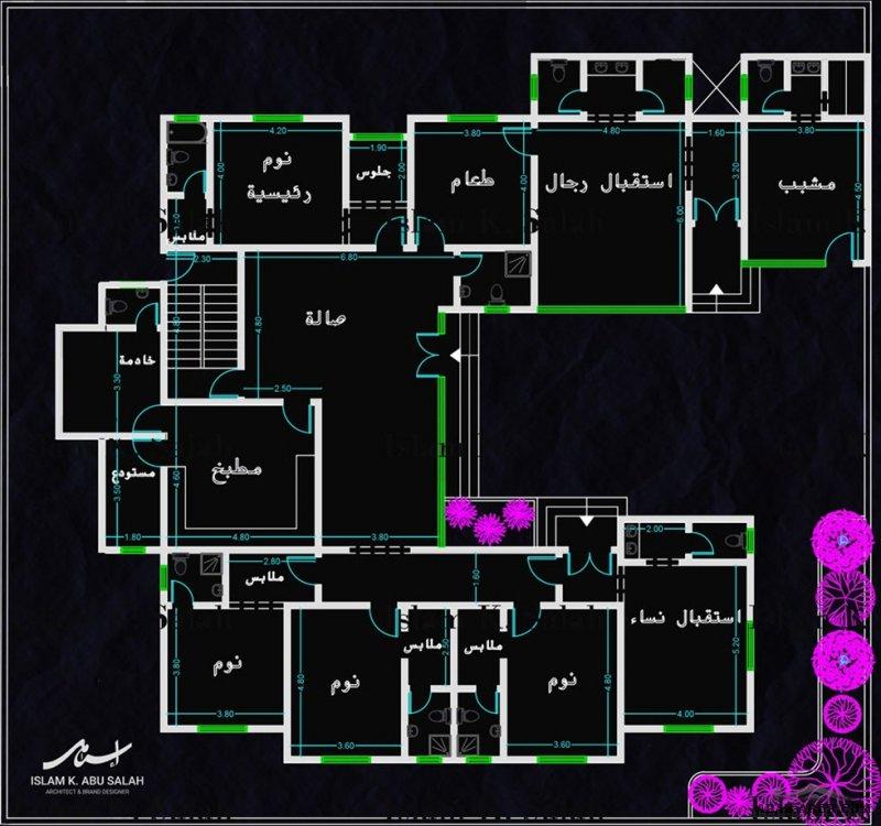 مخطط فيلا من طابق واحد مساحة الارض 1000 م2 من اعمال  مهندس معماري IslamKSalah