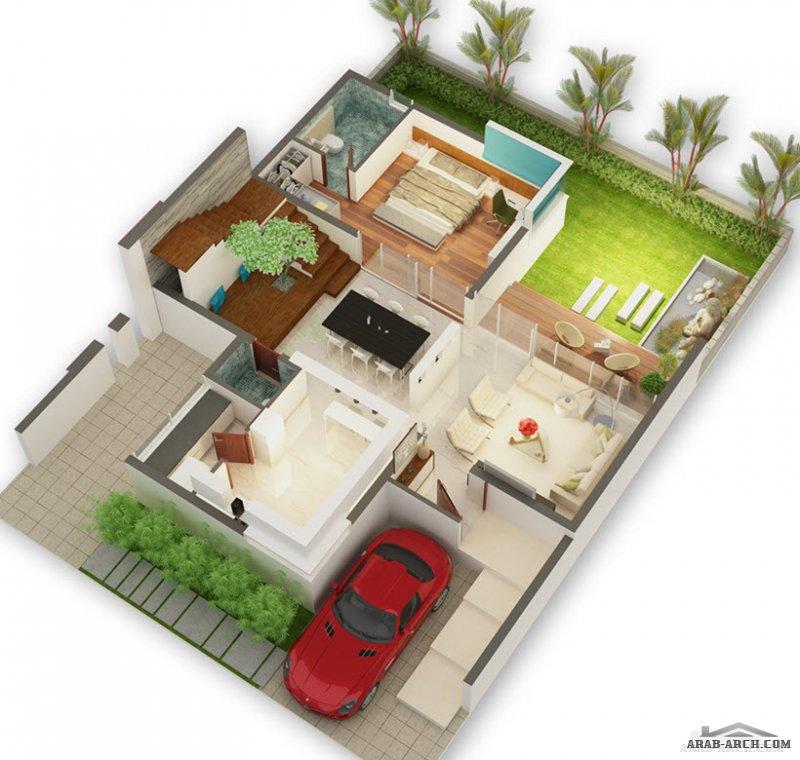 مخطط فيلا مودن 4 غرف نم مساحة صغيرة تصميم اوربي